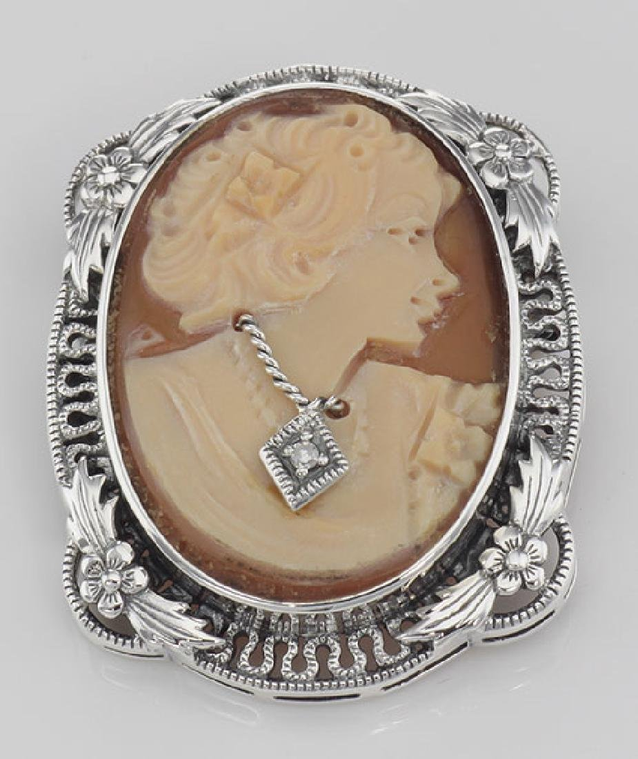Victorian Floral Style Cameo Pin or Pendant with Diamon