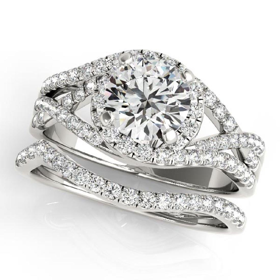 Twisted Halo Engagement Ring Bridal Set 14k White Gold