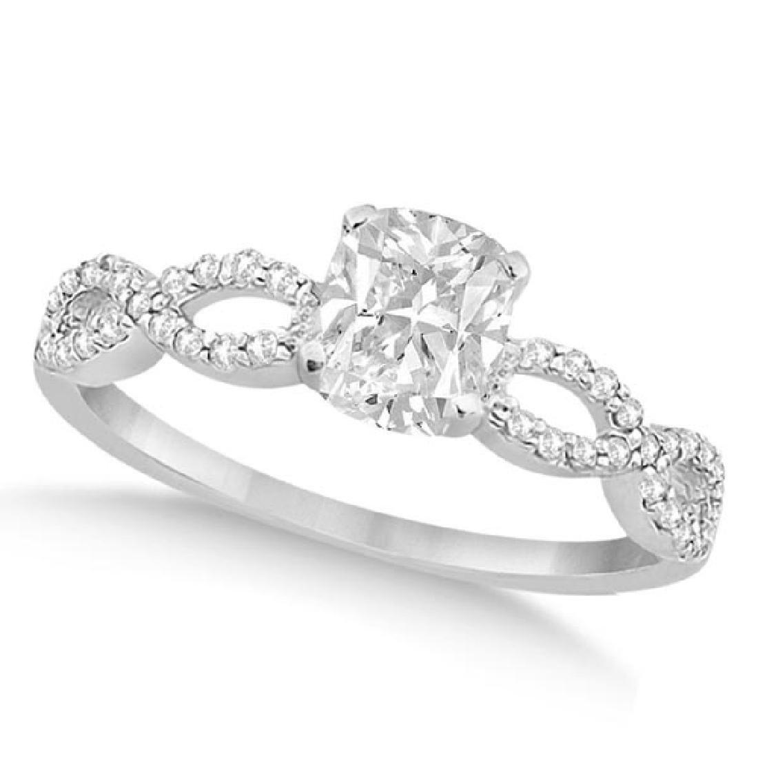Infinity Cushion-Cut Diamond Engagement Ring 14k White