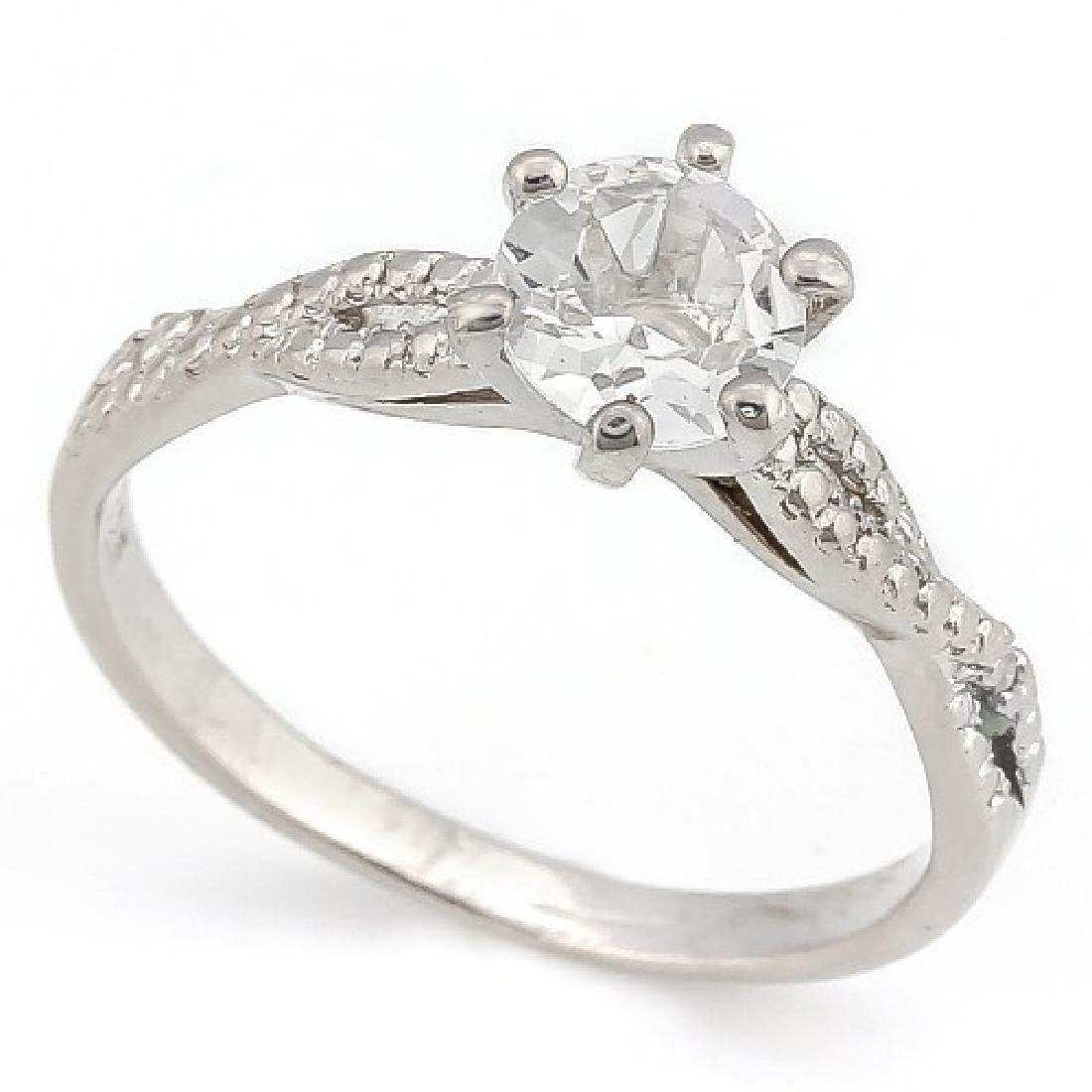 4/5 CARAT WHITE TOPAZ & DIAMOND 925 STERLING SILVER RIN