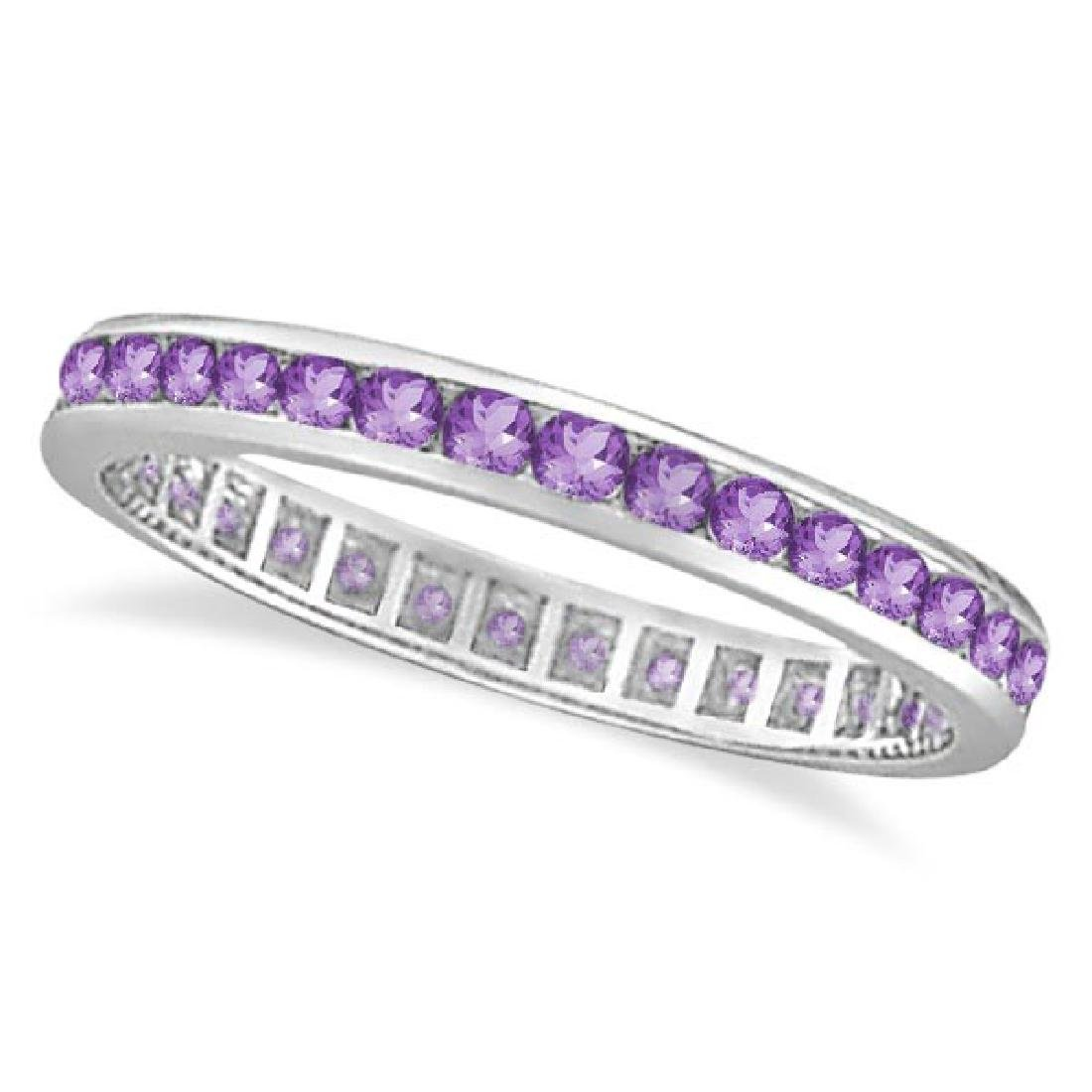 Amethyst Channel Set Eternity Ring Band 14k White Gold