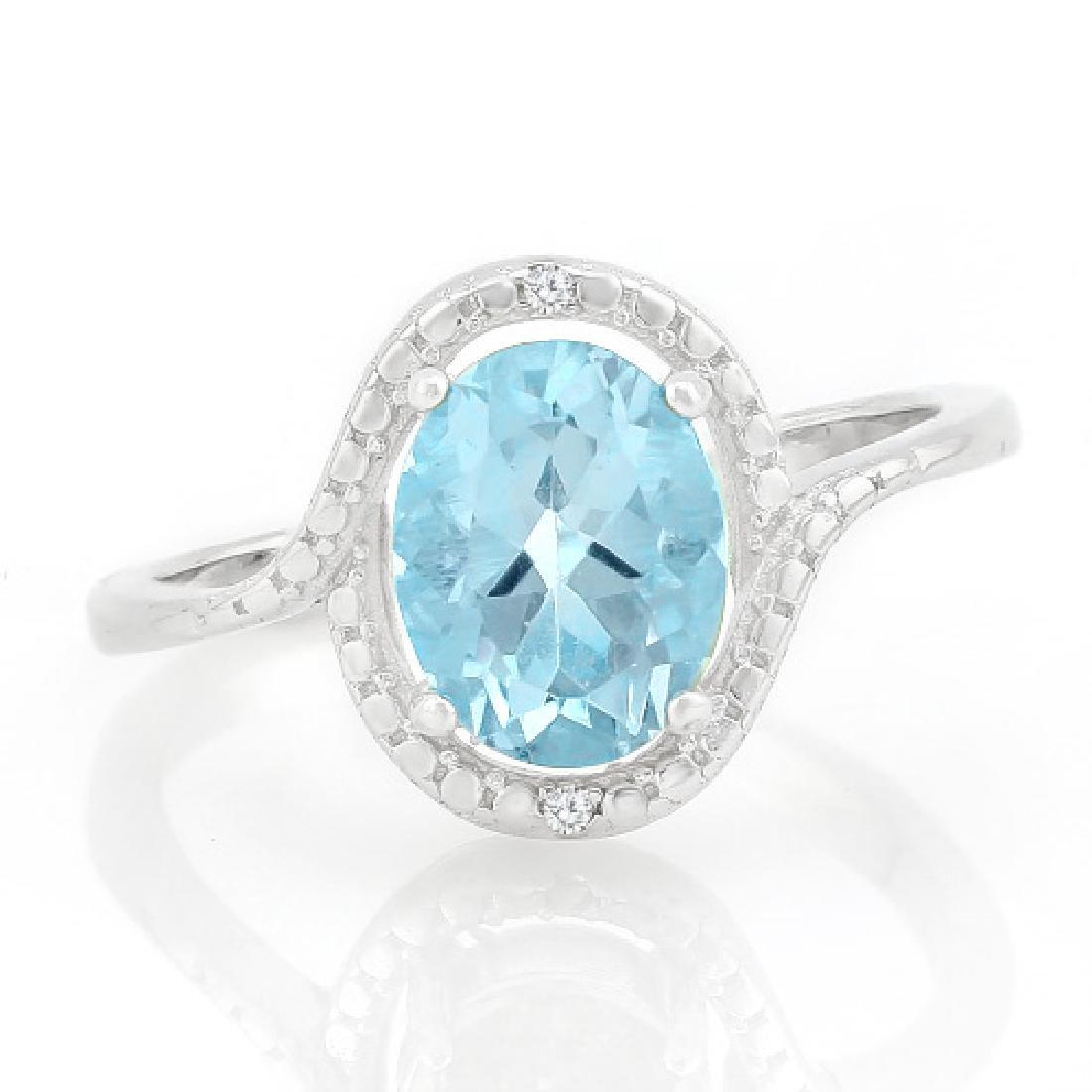 2 CARAT BABY SWISS BLUE TOPAZ & GENUINE DIAMONDS 925 ST