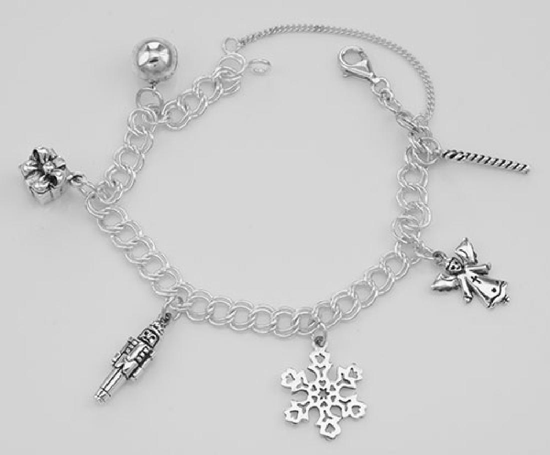 Beautiful Merry Christmas Charm Bracelet - Sterling Sil