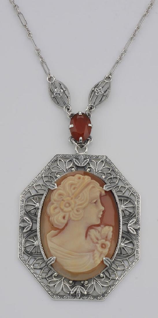 Victorian Style Hand Carved Italian Cameo Pendant Neckl