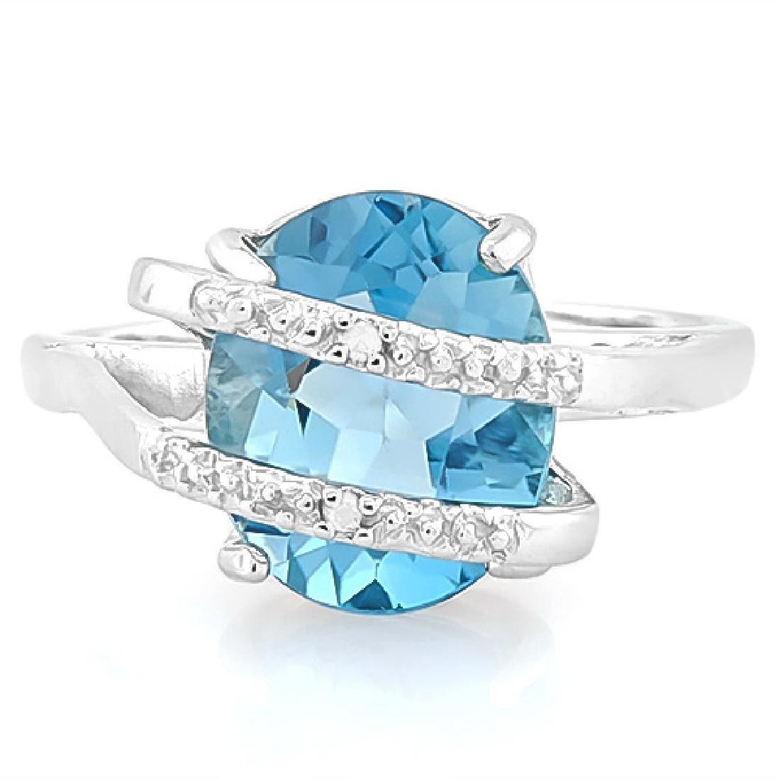 4 4/5 CARAT BABY SWISS BLUE TOPAZ & DIAMOND 925 STERLIN