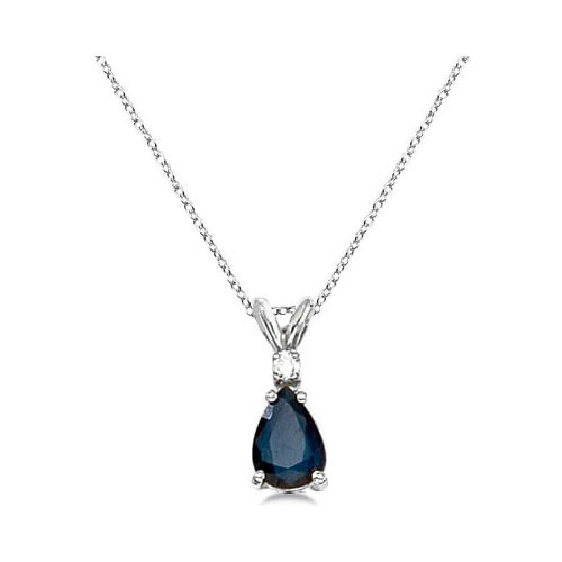Pear Blue Sapphire and Diamond Solitaire Pendant Neckla