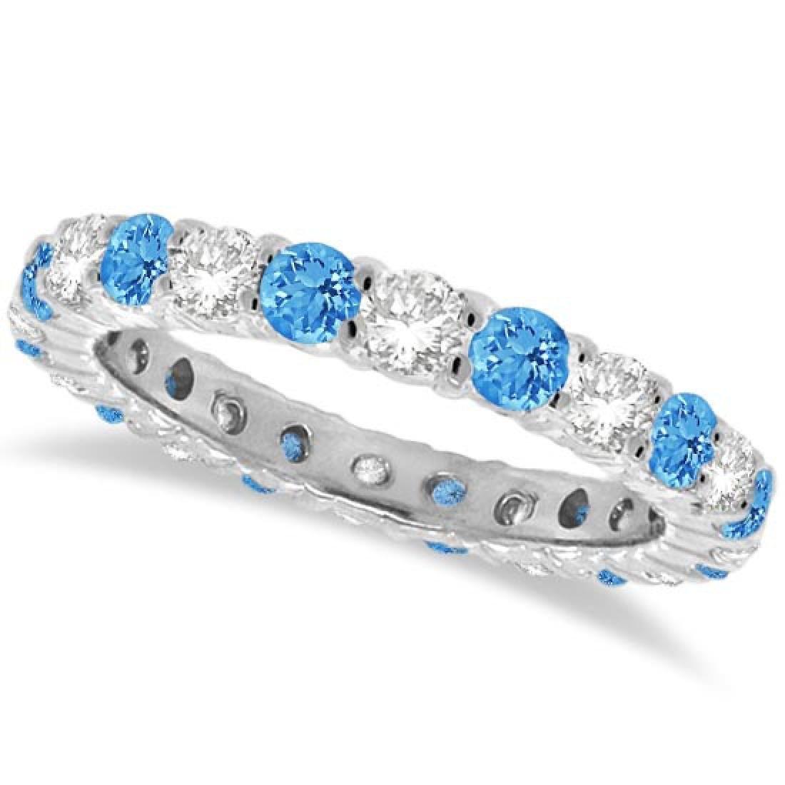 Blue Topaz and Diamond Eternity Ring Band 14k White Gol