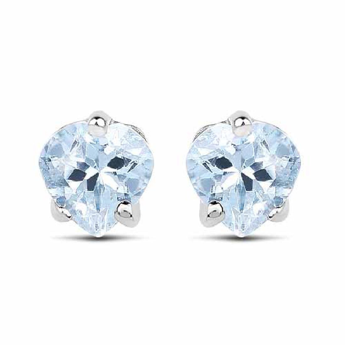 0.66 Carat Genuine Aquamarine .925 Sterling Silver Earr