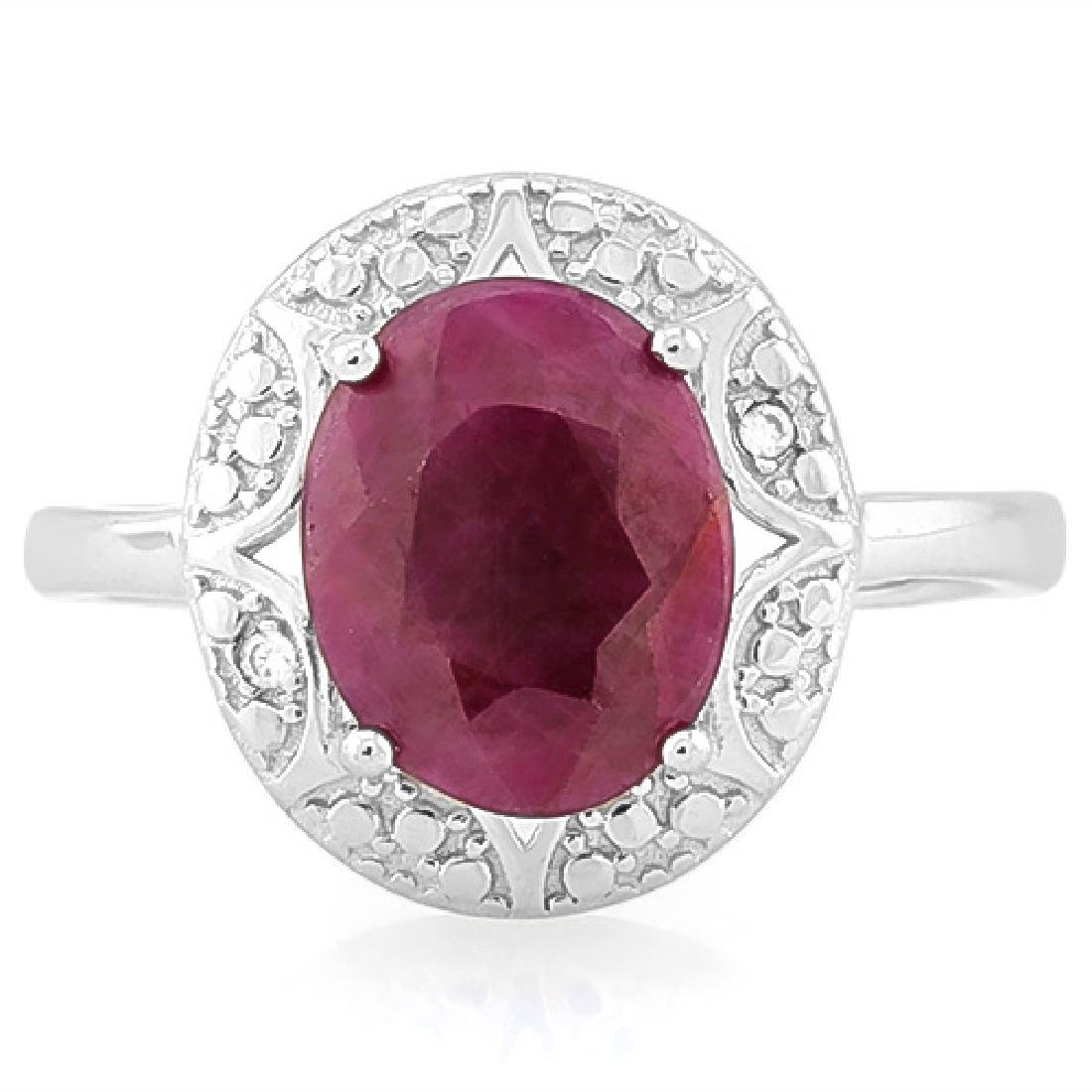3 1/2 CARAT RUBY & DIAMOND 925 STERLING SILVER RING