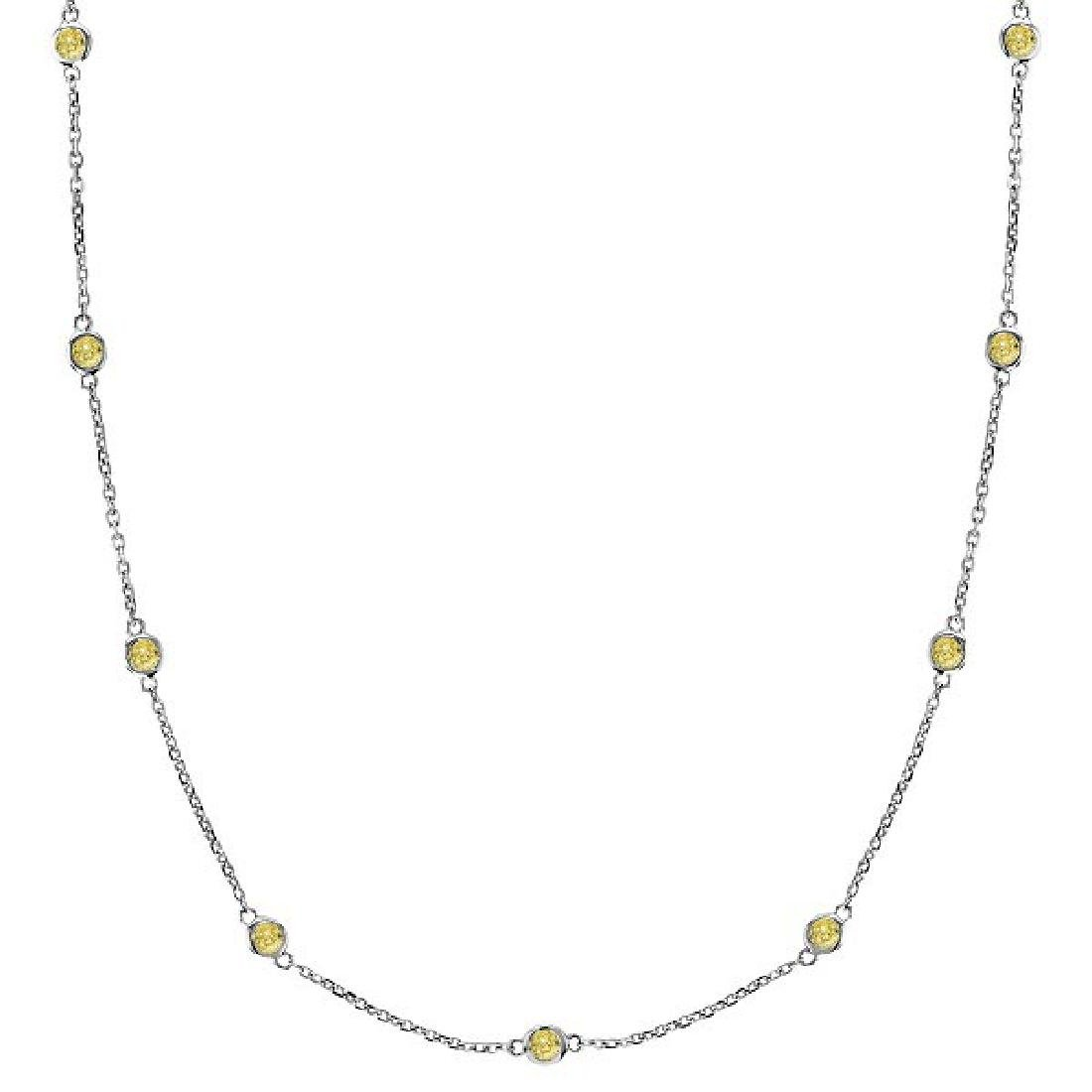 Fancy Yellow Canary Diamonds by The Yard Necklace 14k W