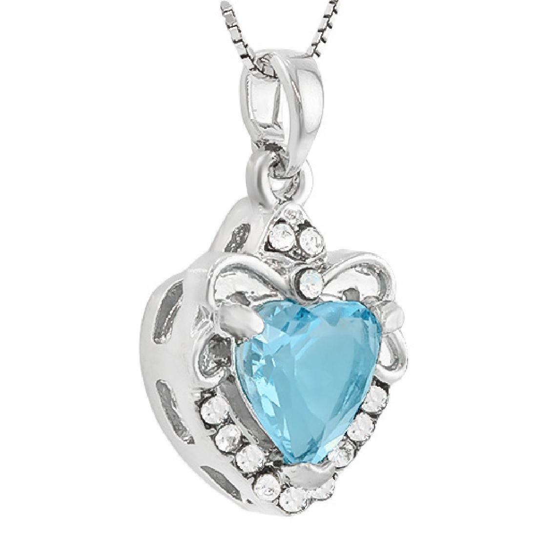CREATED BABY SWISS BLUE TOPAZ & FLAWLESS CREATED DIAMON