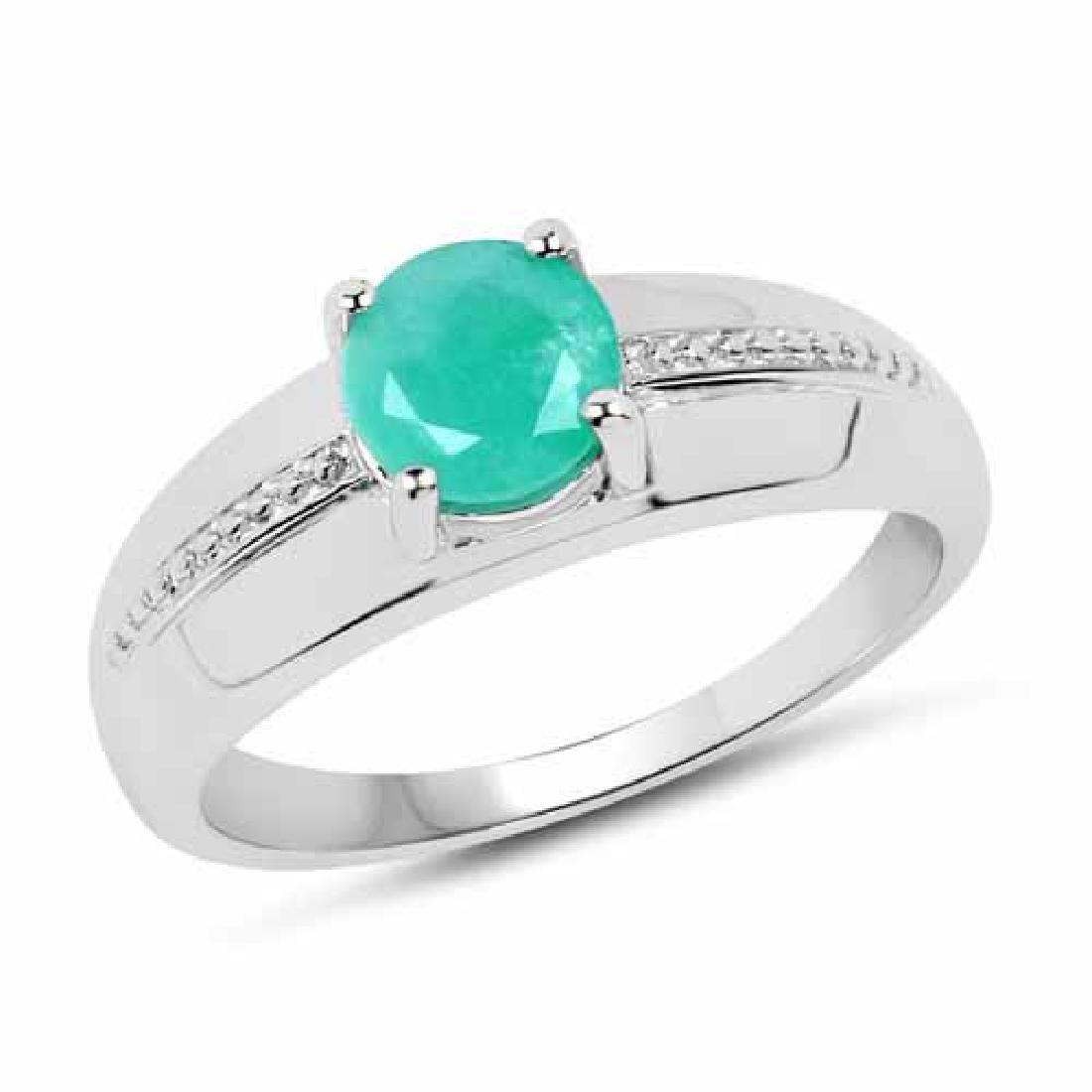 0.75 Carat Genuine Emerald .925 Sterling Silver Ring