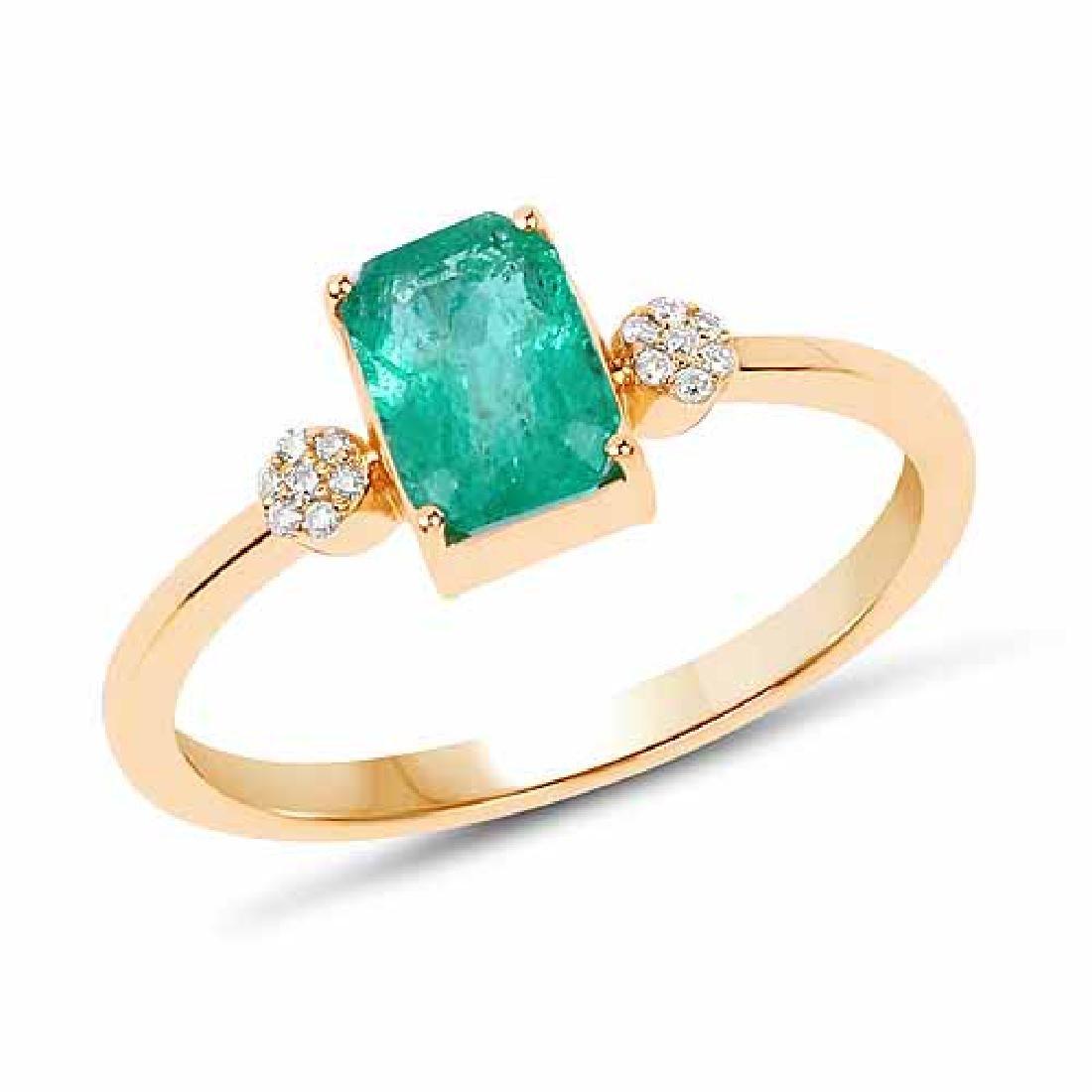 0.97 Carat Genuine Zambian Emerald and White Diamond 14