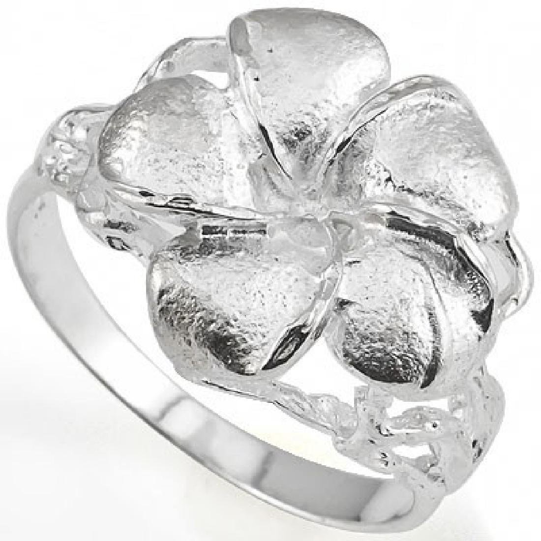 PLUMERIA RING WITH 0.925 STERLING SILVER