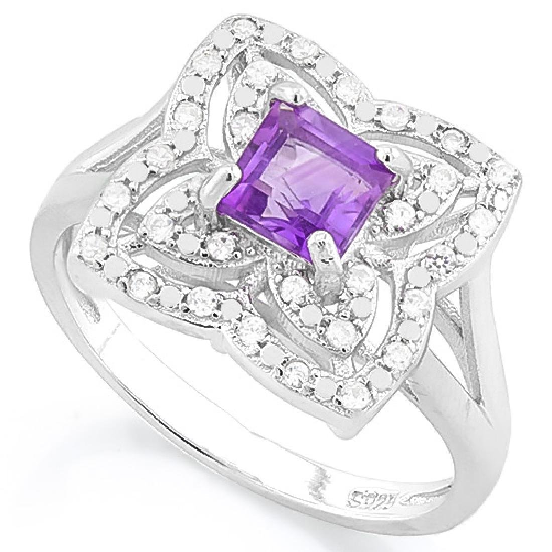 3/5 CARAT AMETHYST & (32 PCS) FLAWLESS CREATED DIAMOND