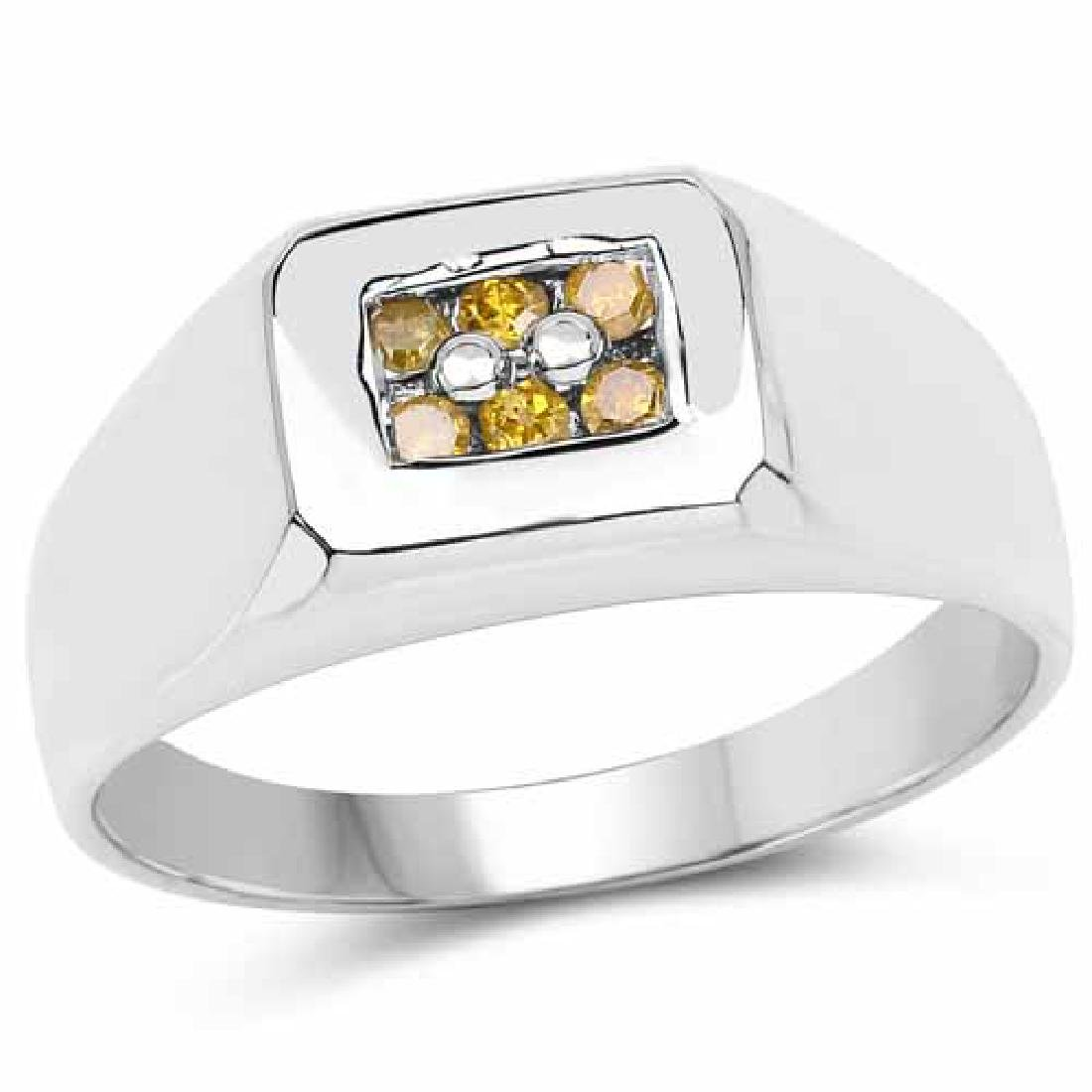 0.14 Carat Genuine Yellow Diamond .925 Sterling Silver