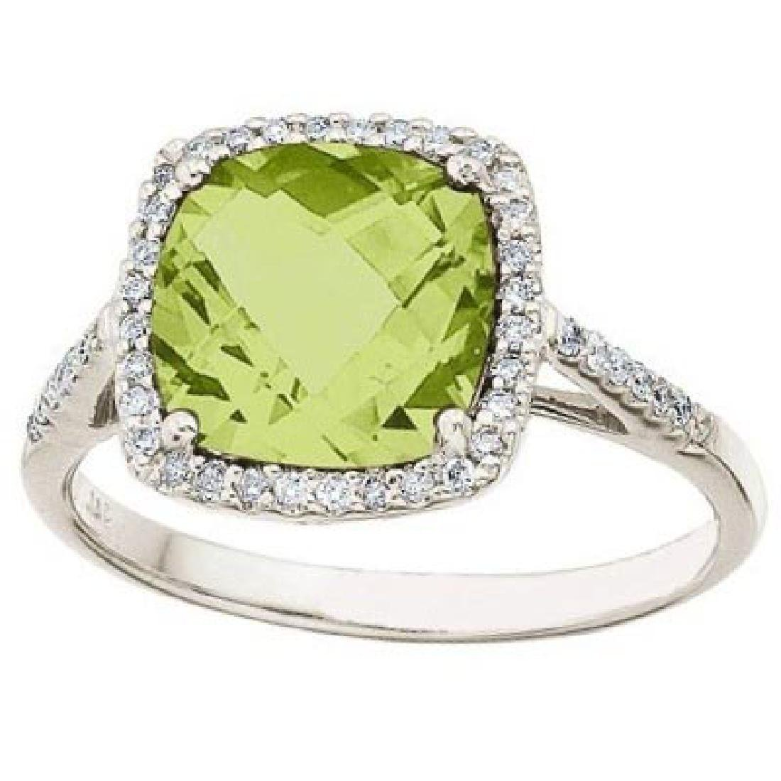 Cushion-Cut Peridot and Diamond Cocktail Ring 14k White