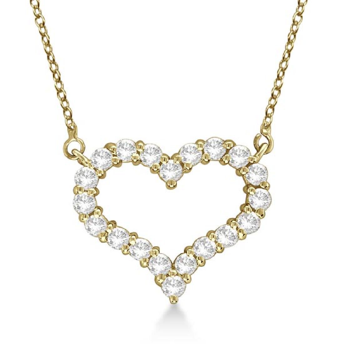 Open Heart Diamond Pendant Necklace 14k Yellow Gold (0.