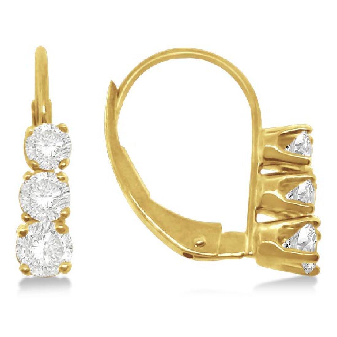 Three-Stone Leverback Diamond Earrings 14k Yellow Gold