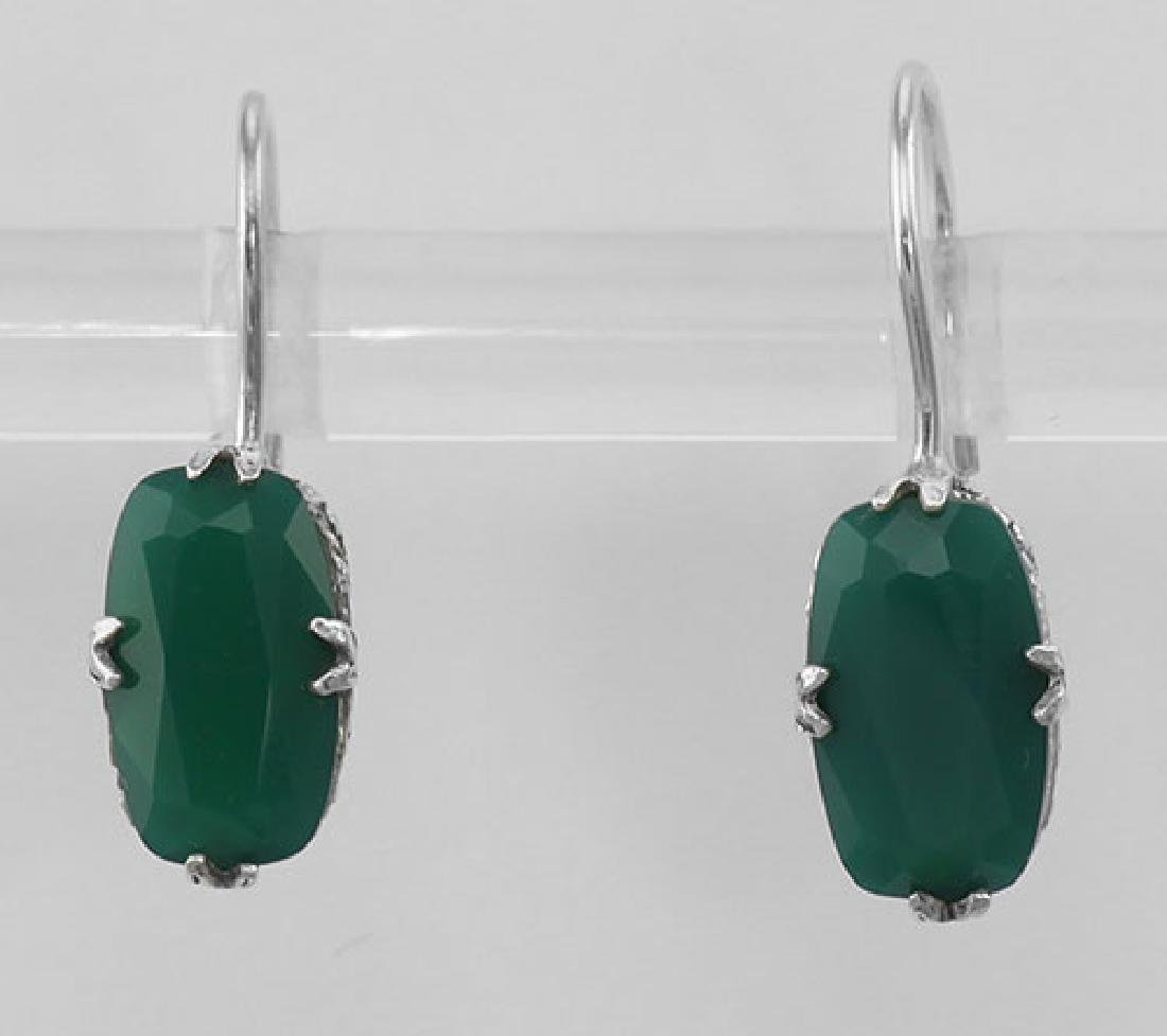 Green Onyx Filigree Earrings - Sterling Silver