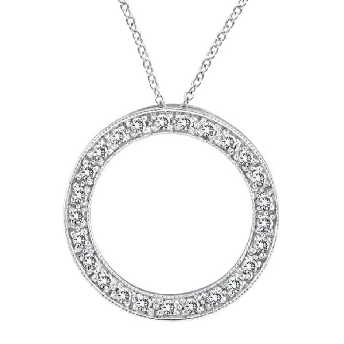 Diamond Circle Pendant Necklace in 14k White Gold (0.53