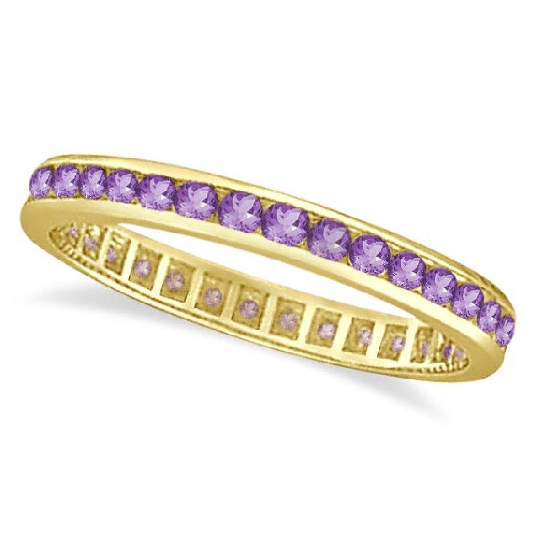 Amethyst Channel Set Eternity Ring Band 14k Yellow Gold