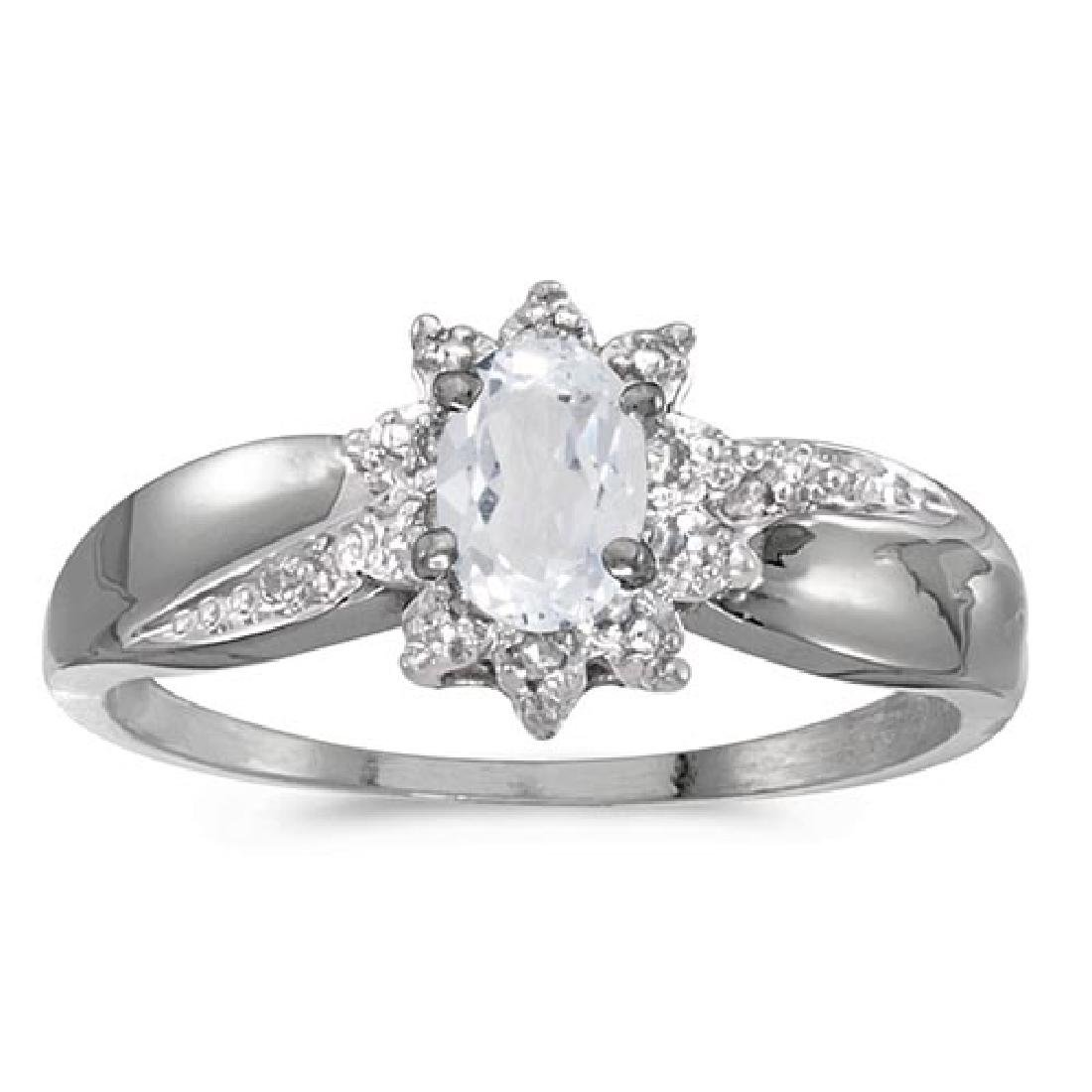 Certified 14k White Gold Oval White Topaz And Diamond R