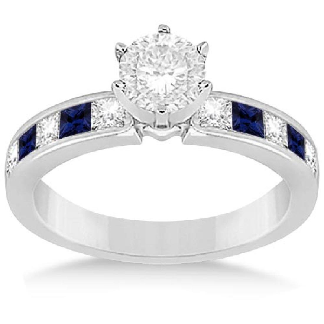 Channel Blue Sapphire and Diamond Engagement Ring 14k W