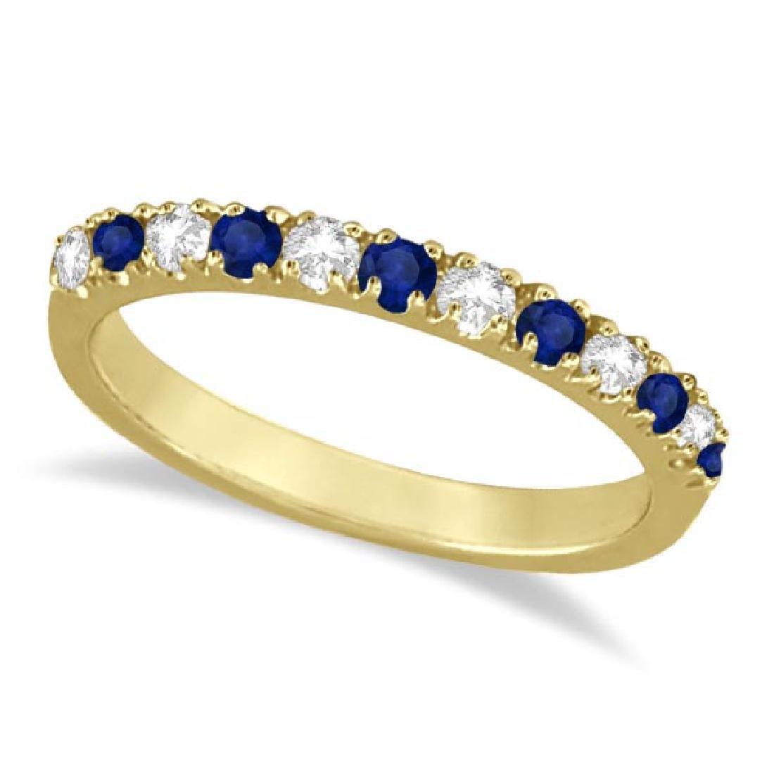 Diamond and Blue Sapphire Ring Anniversary Band 14k Yel