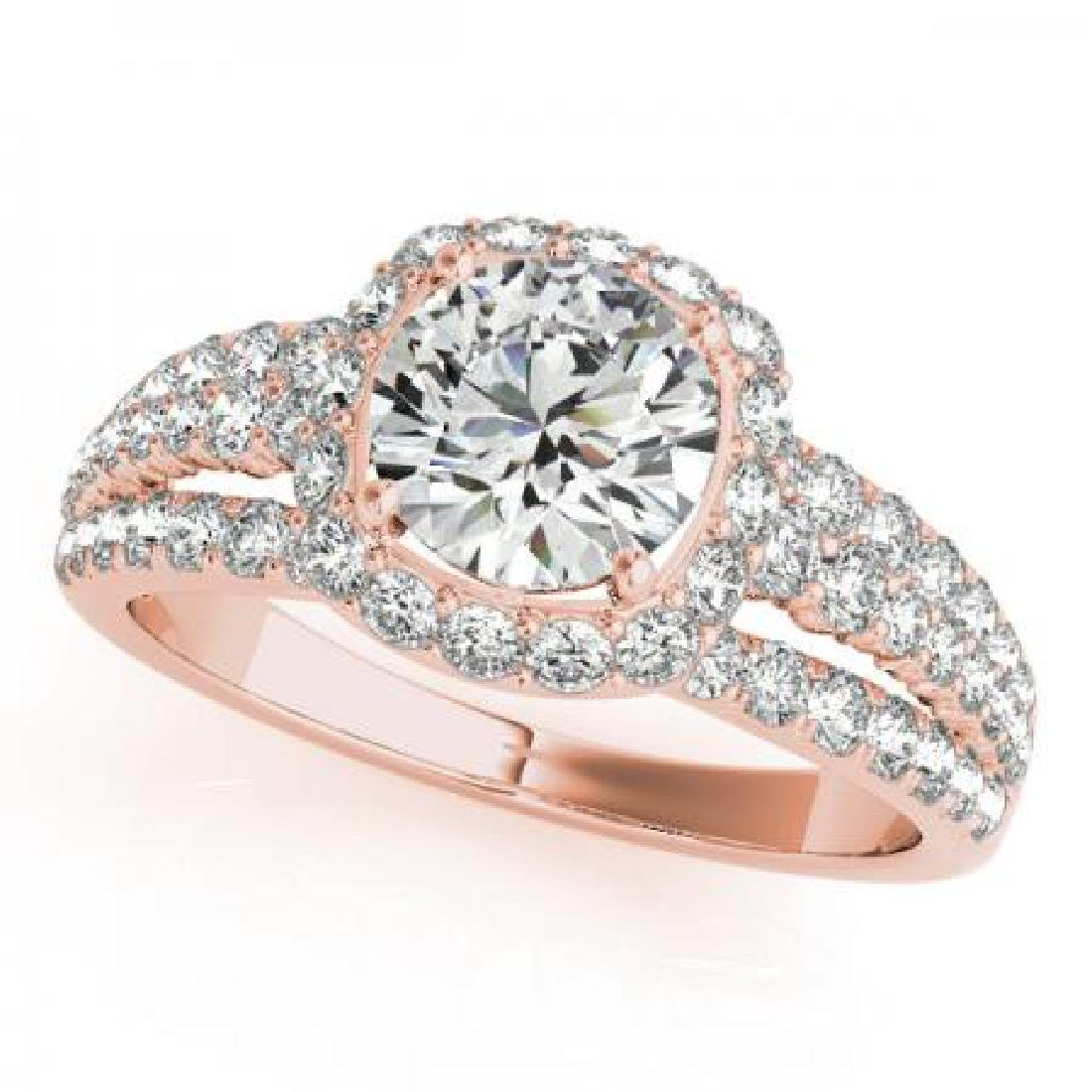 CERTIFIED 18K ROSE GOLD 1.37 CT G-H/VS-SI1 DIAMOND HALO