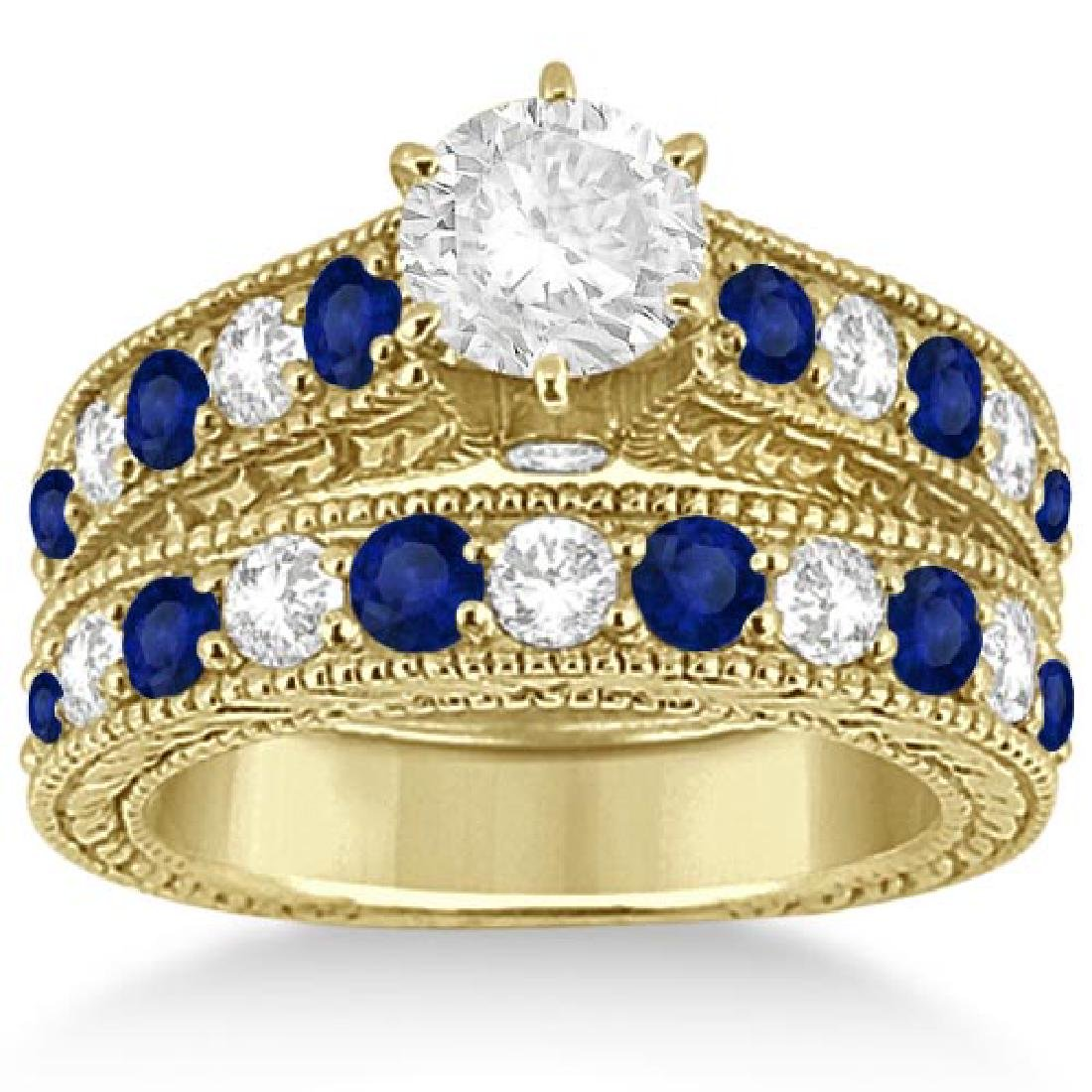 Antique Diamond and Sapphire Bridal Ring Set 14k Yellow