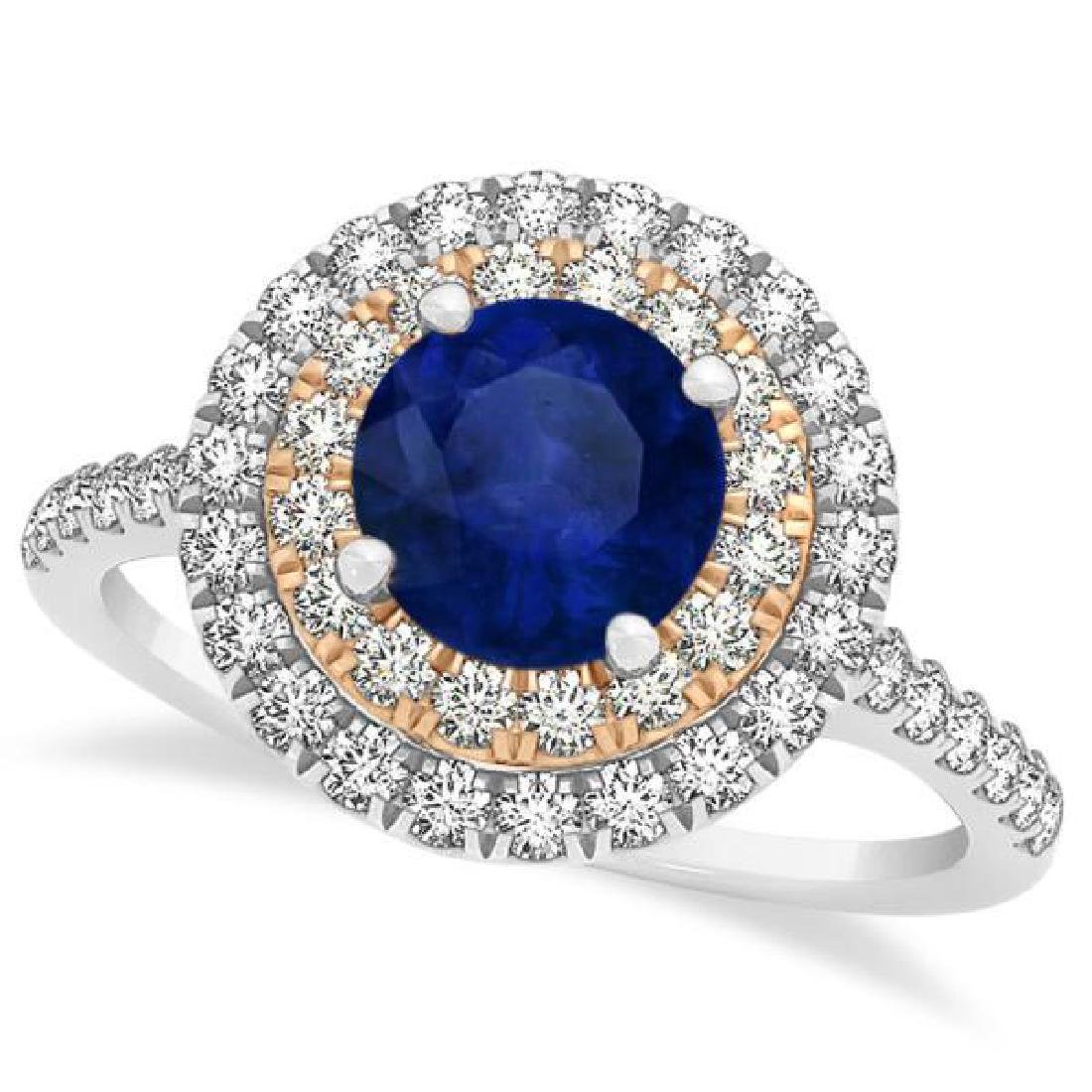 Double Halo Round Blue Sapphire Engagement Ring 14k Two