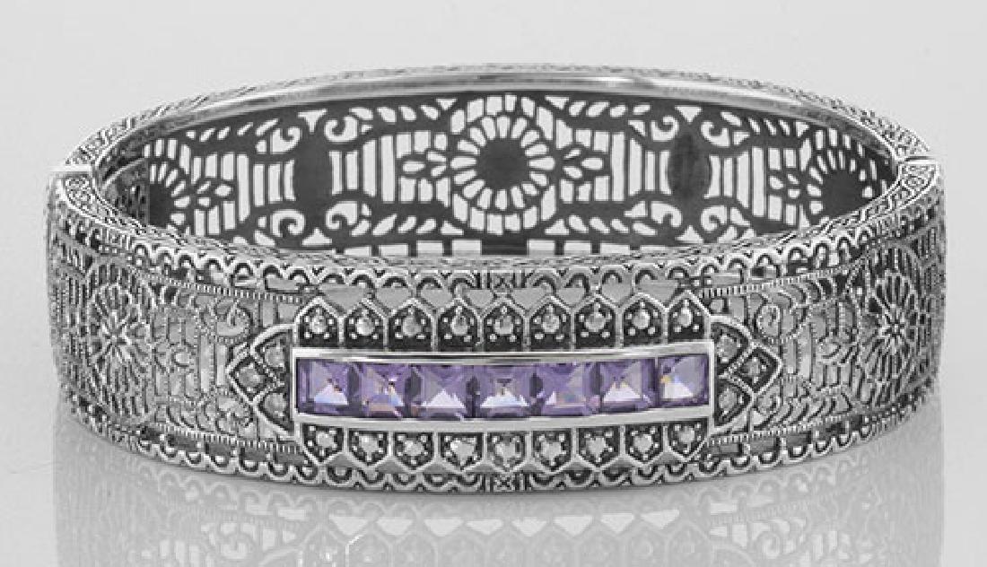 Art Deco Style Filigree Bangle Amethyst / Diamond Sterl