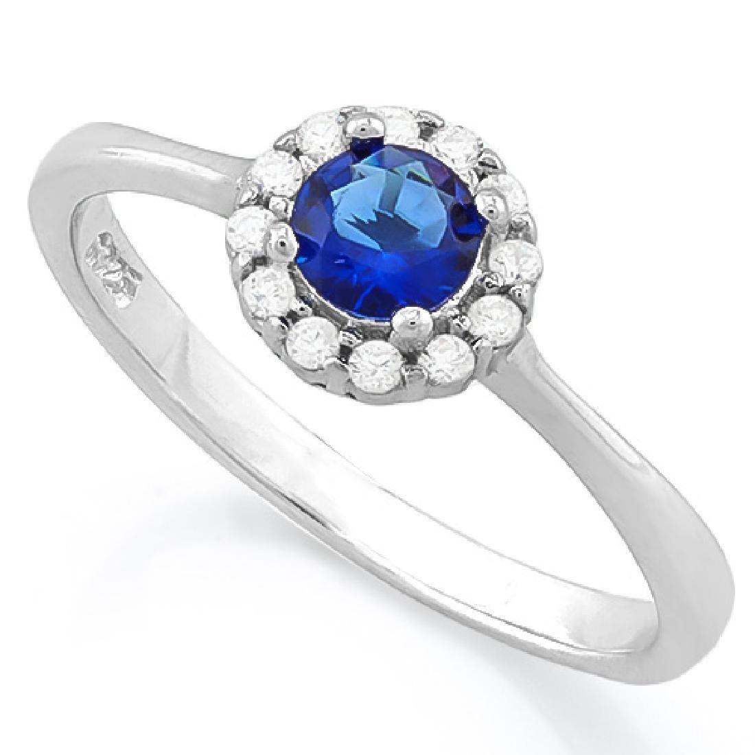 1/2 CARAT CREATED BLUE SAPPHIRE & (12 PCS) FLAWLESS CRE