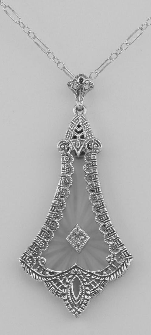 Sunray Camphor Glass Crystal Filigree Diamond Pendant -