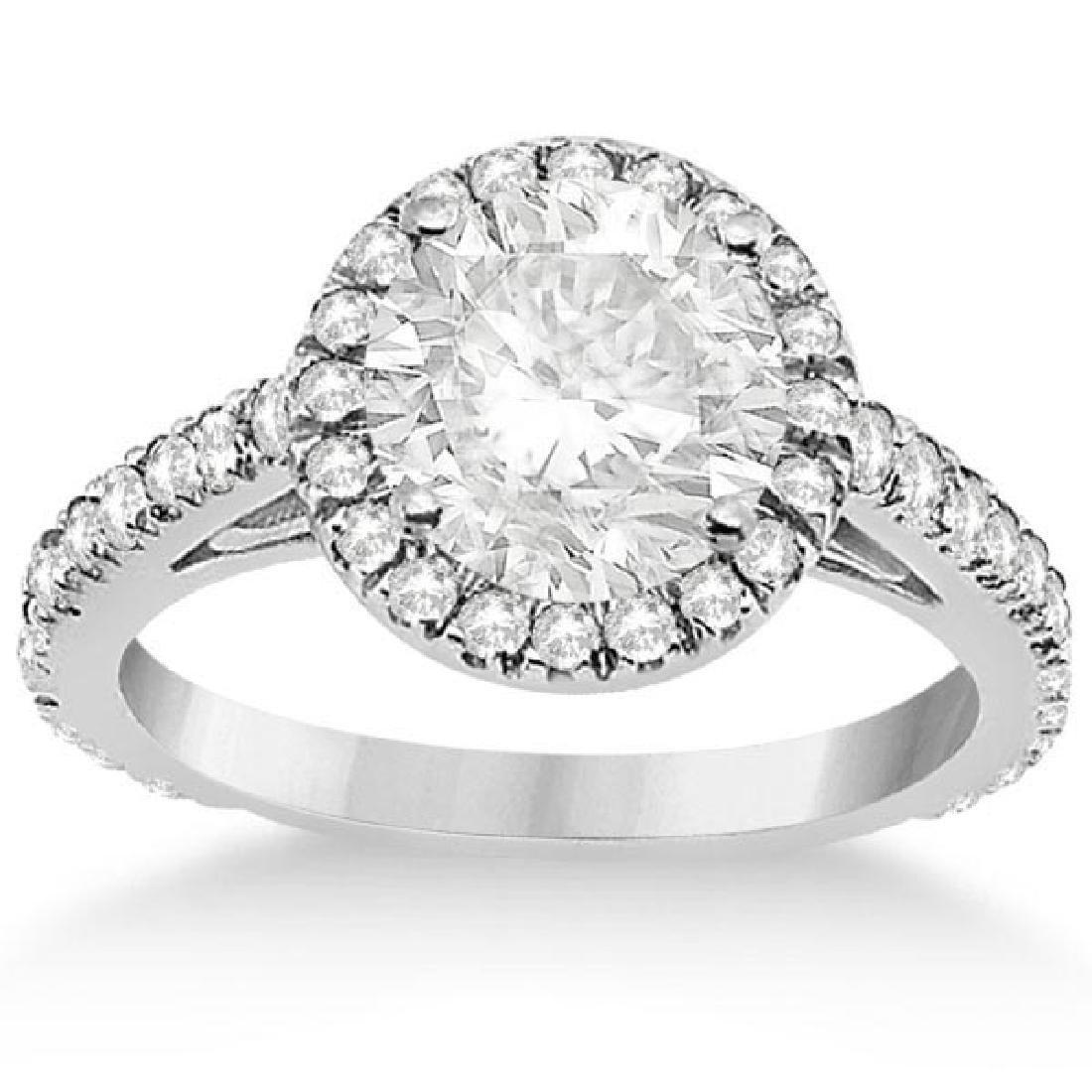 Eternity Pave Halo Diamond Engagement Ring 14K White Go