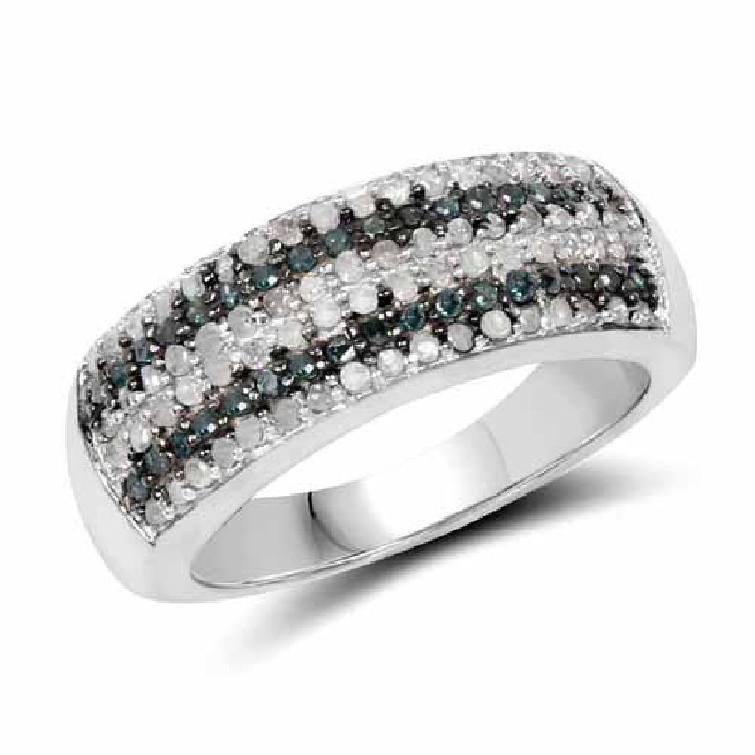 0.43 Carat Genuine Blue Diamond and White Diamond .925