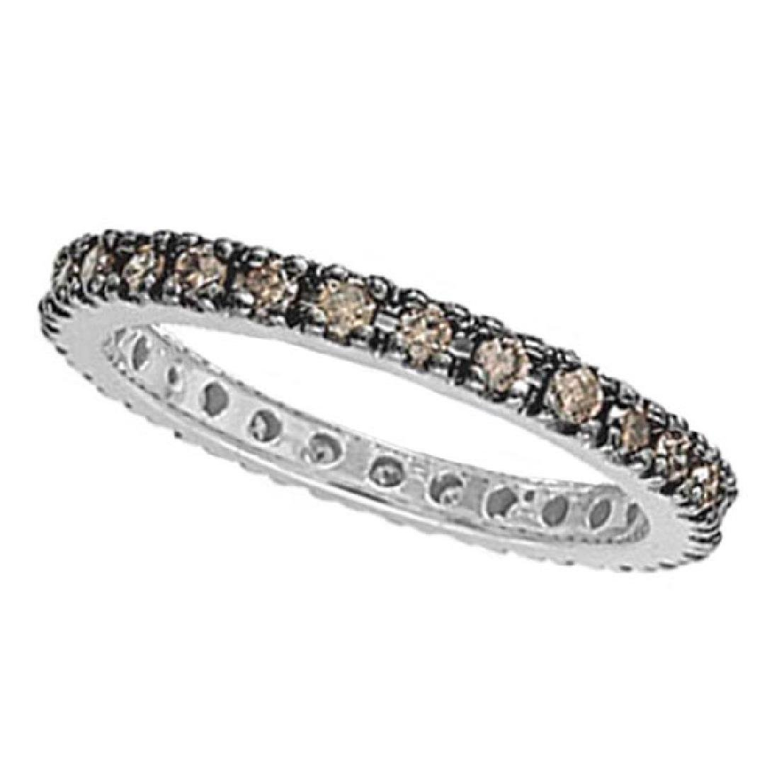 Champagne Diamond Eternity Ring Band in 14k White Gold