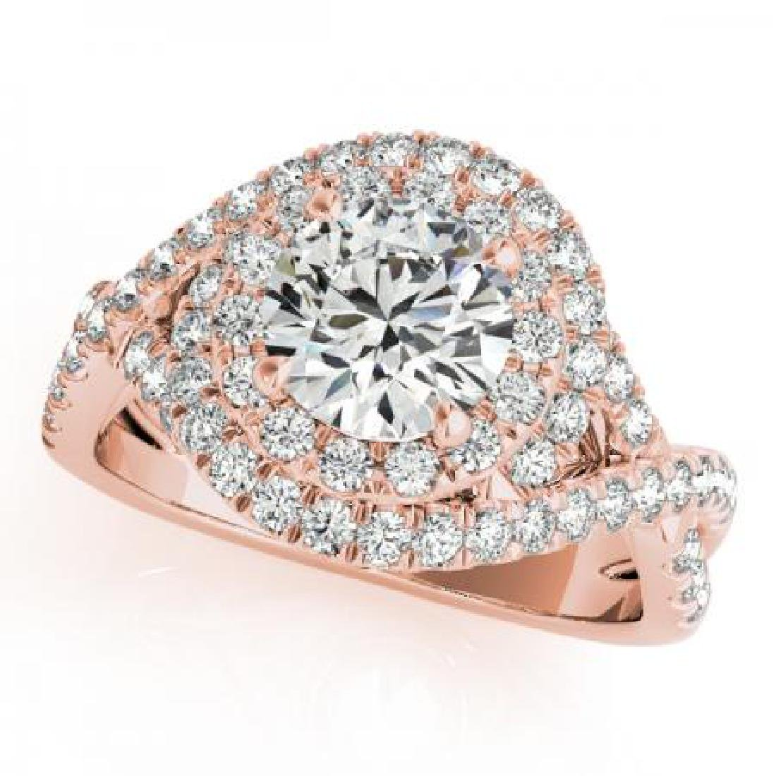 CERTIFIED 18K ROSE GOLD 1.54 CT G-H/VS-SI1 DIAMOND HALO