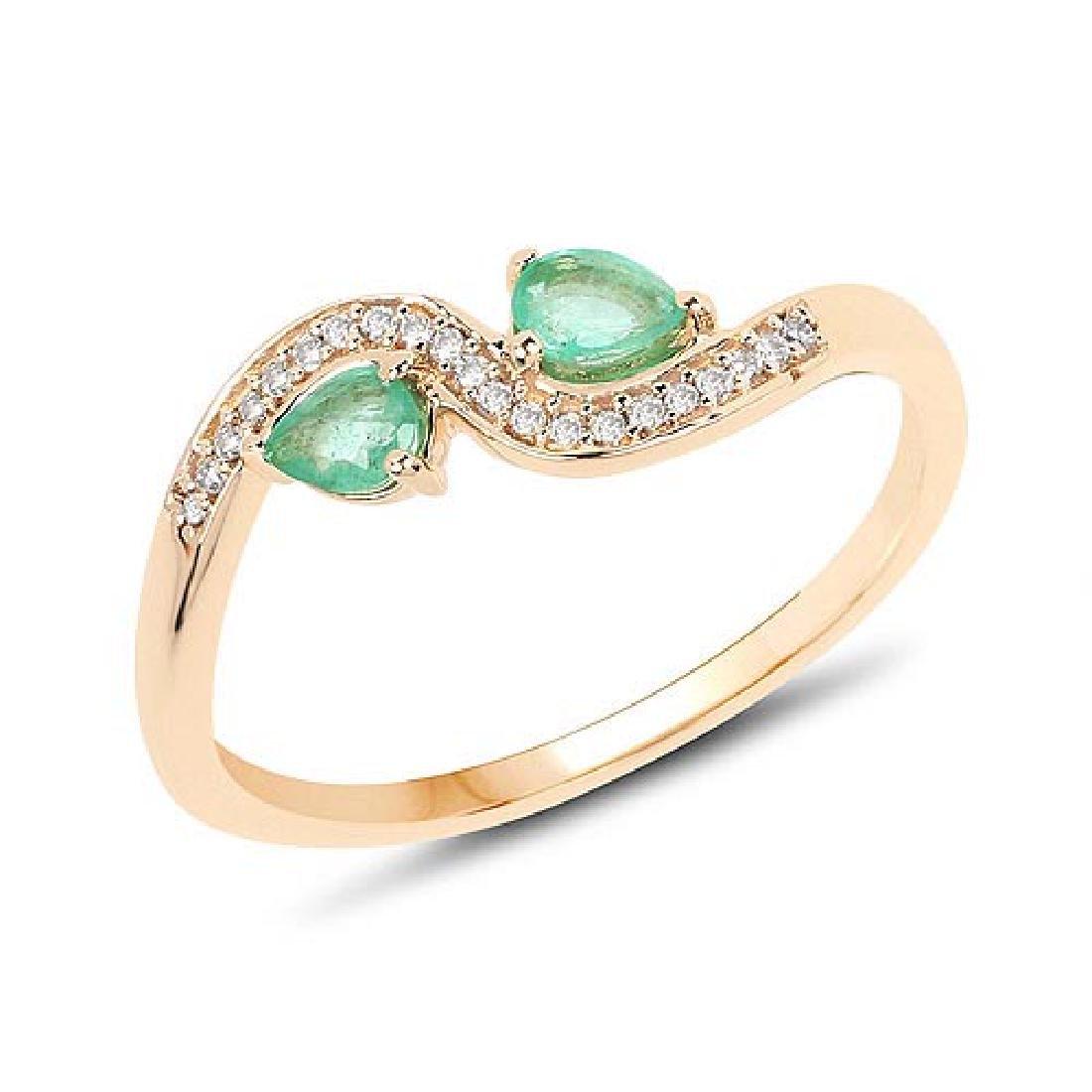 0.34 Carat Genuine Zambian Emerald and White Diamond 14