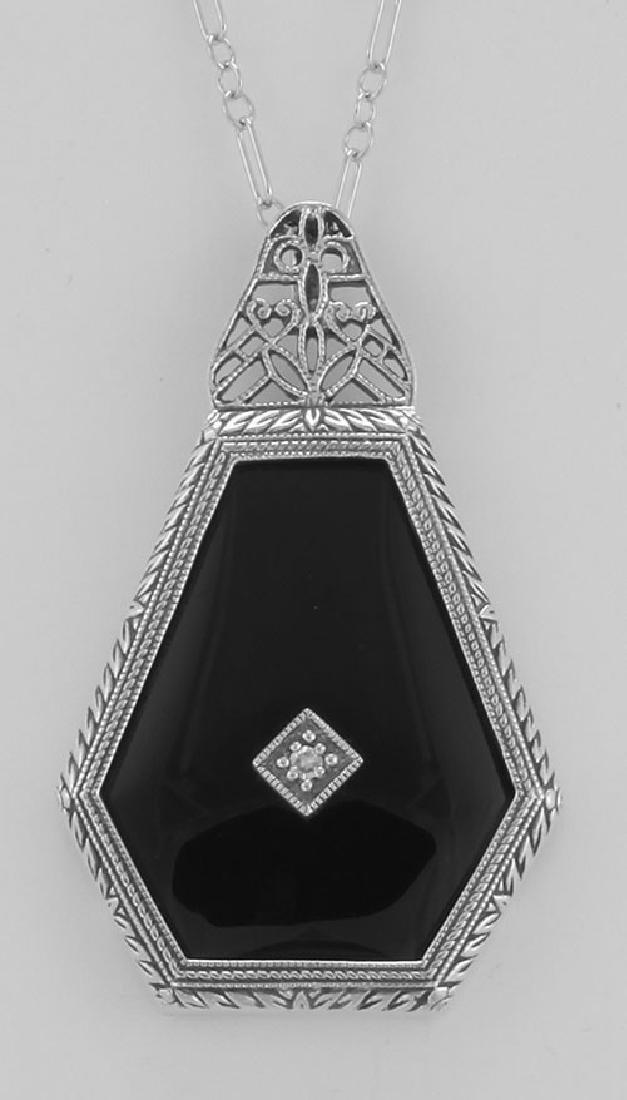 Art Deco Style Black Spinel Filigree Pendant Diamond &
