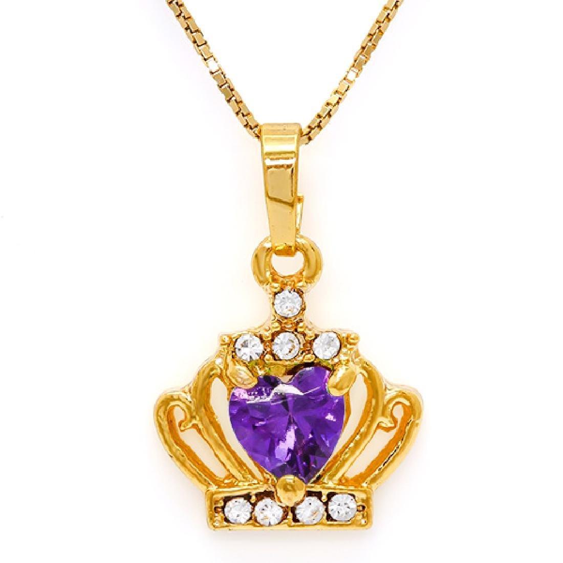 CREATED AMETHYST & FLAWLESS CREATED DIAMOND 18K GOLD PL