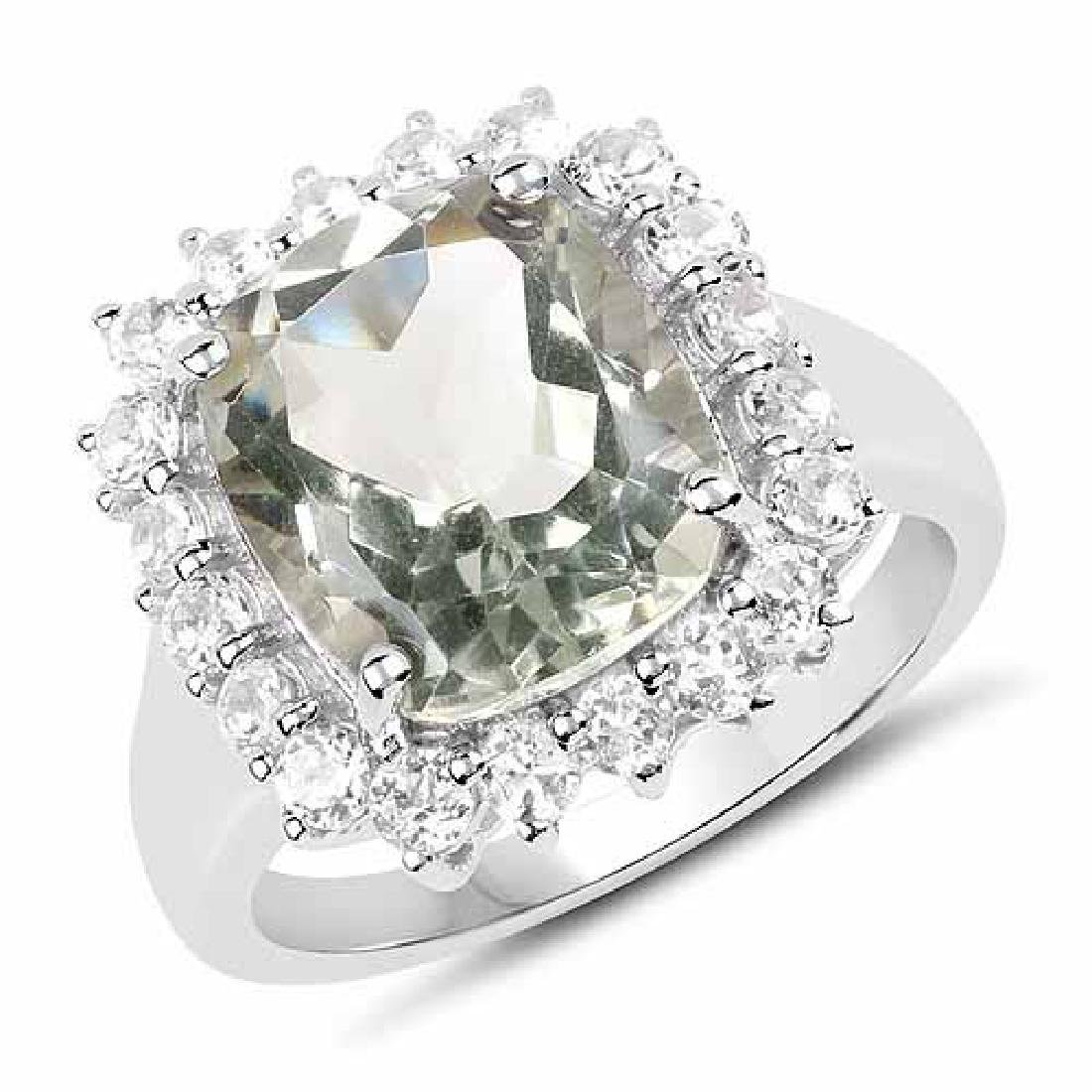 5.80 Carat Genuine Green Amethyst and White Topaz .925