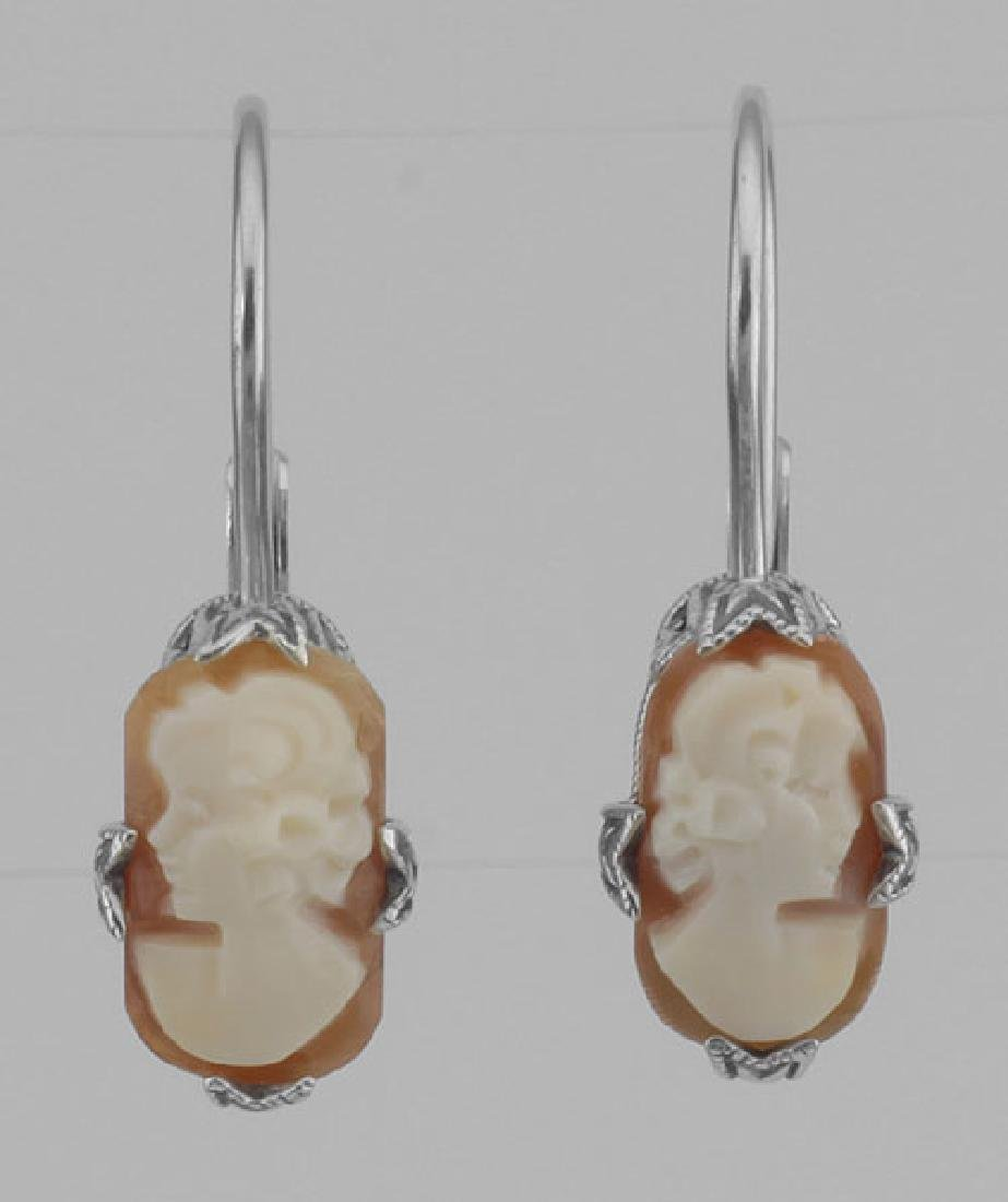 Hand Carved Italian Shell Cameo Filigree Earrings in Fi
