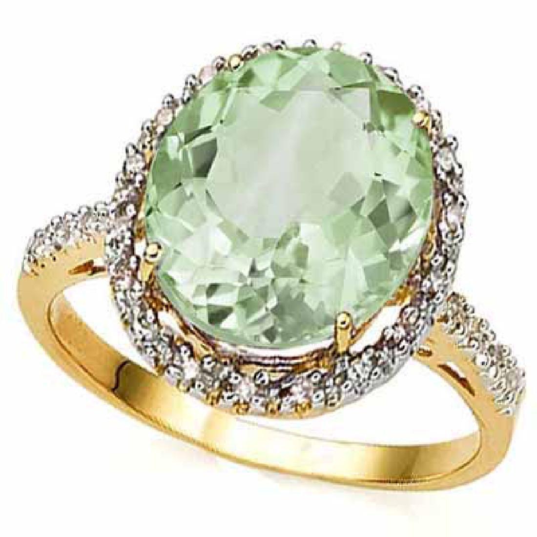 4.3 CARAT TW (23 PCS) GREEN AMETHYST & GENUINE DIAMOND
