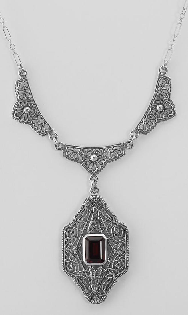 Classic Victorian Style Garnet Filigree Necklace w/ 19