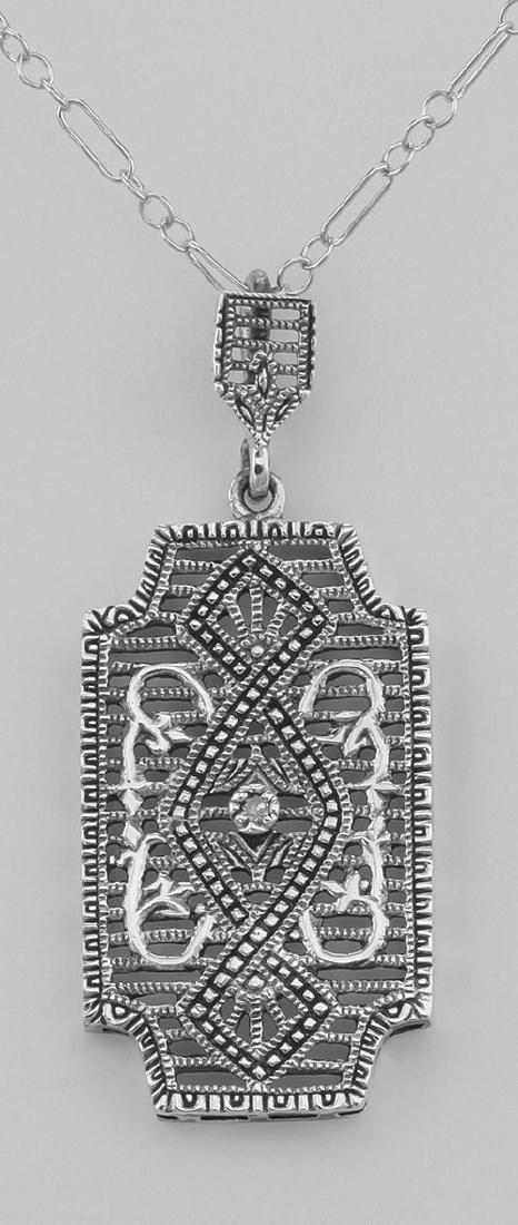 Art Deco Style Filigree Pendant with Diamond - Sterling