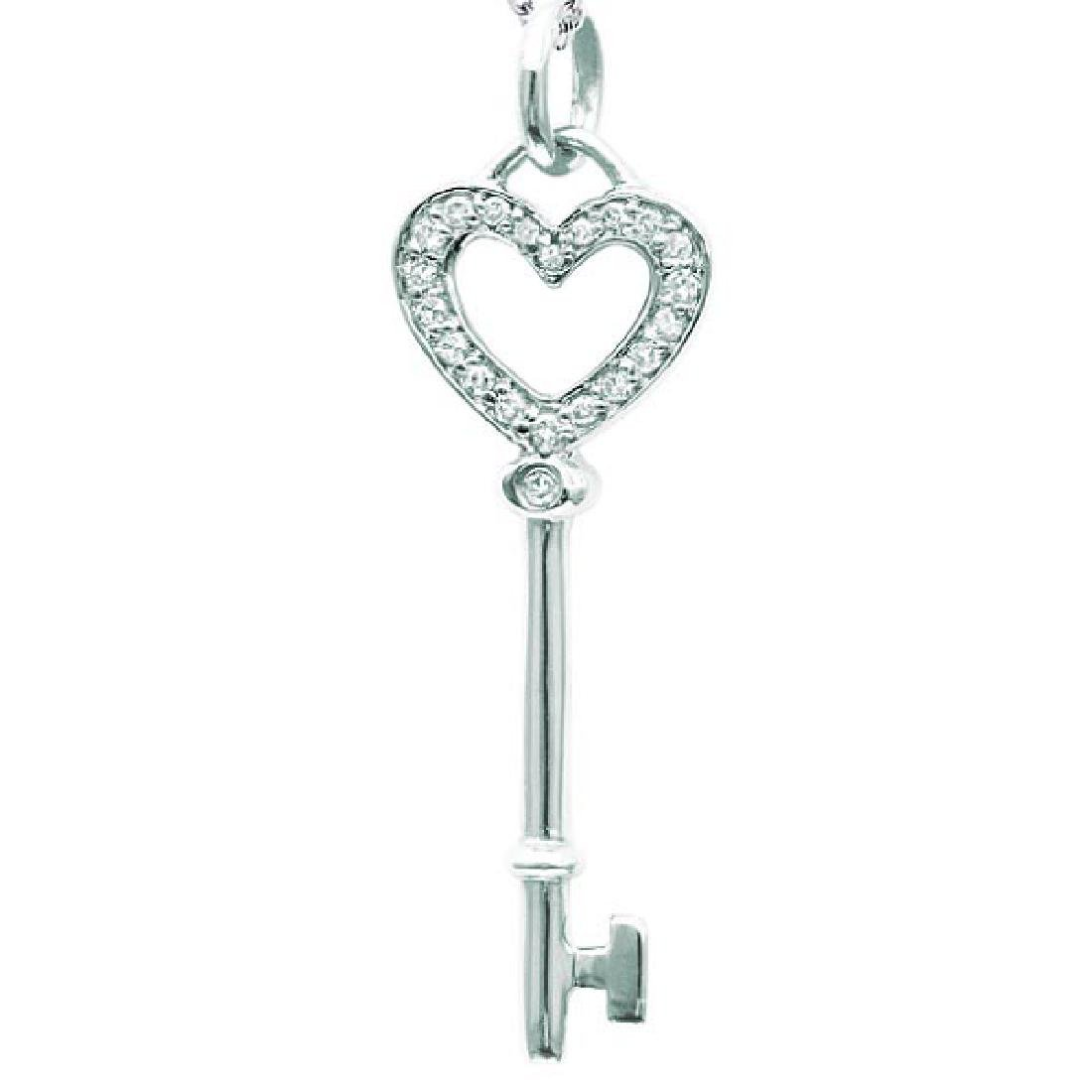Diamond Heart Key Pendant Necklace in 14k White Gold (0