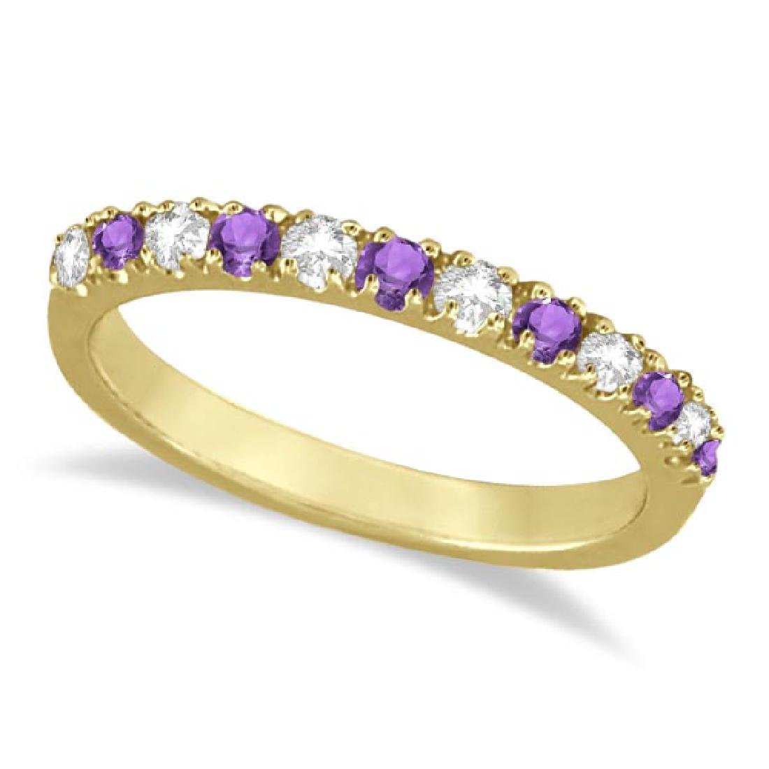 Diamond and Amethyst Band Stackable Ring Guard 14k Yell