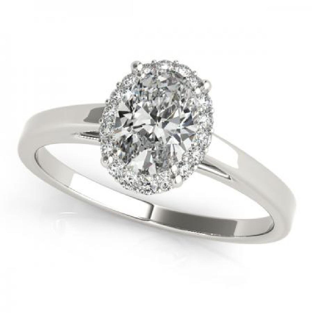 CERTIFIED 14KT WHITE GOLD .95 CT G-H/VS-SI1 DIAMOND HAL